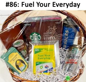 Starbucks Travel Mug, Gas Gift Card (BP & Amoco), Starbucks Tripleshot energy Drink, Starbucks Mocha Doubleshot Drink, Starbucks Caffe Verona 32 K-cups, Brown Journal, Handsome Beast Rope Soap  Total Basket Value: $109.00