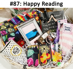 Vera Bradley Purse & Wallet, Socks, Mug, Body Wash, Lotion & Shea butter, Book Light, Book, Head wrap, Happy Reading Gift Card  Total Basket Value: $227.00