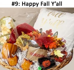 Happy Fall Y'all Pillow, Oven Mitt & Glove, Pumpkin Mug, Salt & Pepper Shaker, Welcome Décor, Holiday Wine Glass, Red Oval Dish, Ceramic Pumpkin, Pumpkin Pin, Fall Ornament  Total Basket Value: $103.00