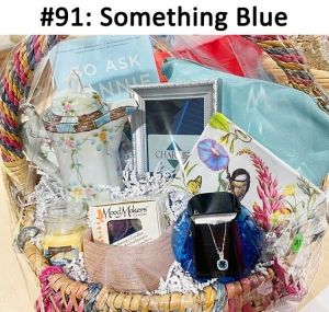 Small Vanilla Candle, Pink Headband, Blue Shoulder Bag, Go Ask Fanny Book, Light Blue Topaz Necklace, Waterford Crystal Votive Candle, Aromatherapy Candles, Serving Bird plate & Napkins, Tea Pot, Charlie's Gift card  Total Basket Value: $228.00