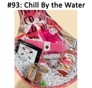 Pink Head Scarf,  Mike on the Water gift card,  Margarita Mix, Margarita Glass, XO Candle, Hand Massager, Pink Tote Bag Heart Earrings, Handmade Blanket  Total Basket Value: $147.00