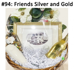 Friends Picture and Frame, Flowered Wreath, Prosecco Champagne, Lenox Bud Vase Potpourri, 2 Champagne Flutes  Total Basket Value: $128.00