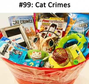 Cat Food Bowl, Cat Food, Pet Hair Remover, Pet Smart Gift Card, Paw Perfect Nail Trimmer, Cat Crimes Who's To Blame Logic Game, Cat Plush Earmuff, Pet Socks, Temptation Cat Treats, 2 Beanie Babies Cat Toys, Cat Wand  Total Basket Value: $120.00